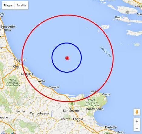 Terremoto Mar Adriatico avvertito a Pescara