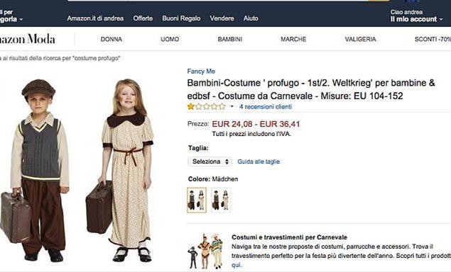 Carnevale, su Amazon abito da piccolo profugo