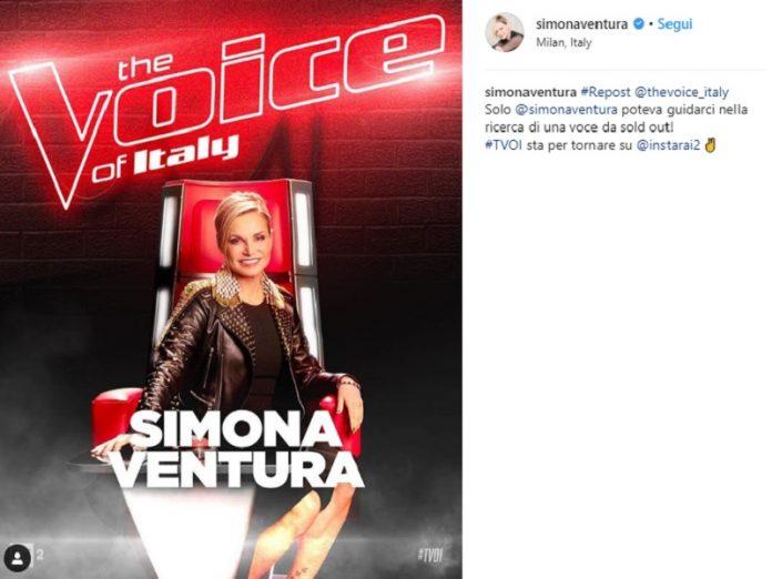 Simona Ventura The Voice of Italy, il messaggio su Instagram