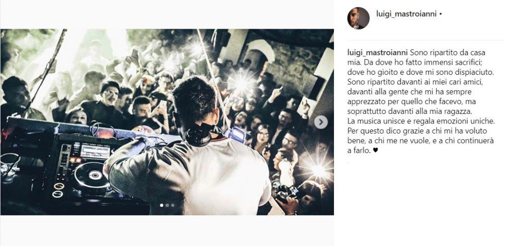 Luigi Mastroianni messaggio su Instagram